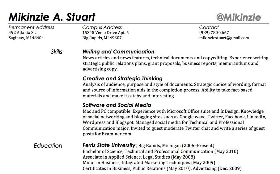 does your twitter handle belong in your resume the